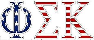 Phi Sigma Kappa American Flag Greek Letter Sticker - 2.5