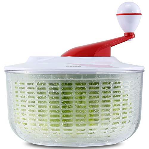 Salatschleuder, Salatschleudertrockner Leicht zu Reinigen, Salatwaschmaschinen Mischer Leicht zu Spinnen und Schnell zu Trocknen, Salatschleuder-Blatttrockner Ideal für Gemüse und Obst