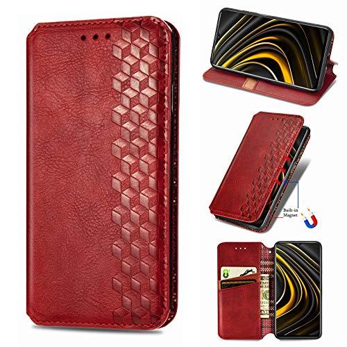 NEINEI Handyhülle für Xiaomi Mi Note 10 Lite Hülle,Premium PU/TPU Lederhülle Klapphülle mit Magnetisch,Kartenschlitz,Vintage Handytasche Schutzhülle Flip Folio Cover Hülle,Rot