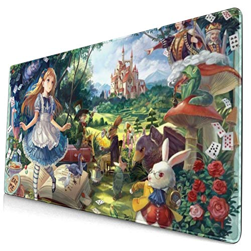 Alice in Wonderland Mouse Pad Large Gaming Mouse Pads with Nonslip Base Portable Foldable Stitched Edges Desk Cover Computers Keyboard(15.8x29.5Inch)
