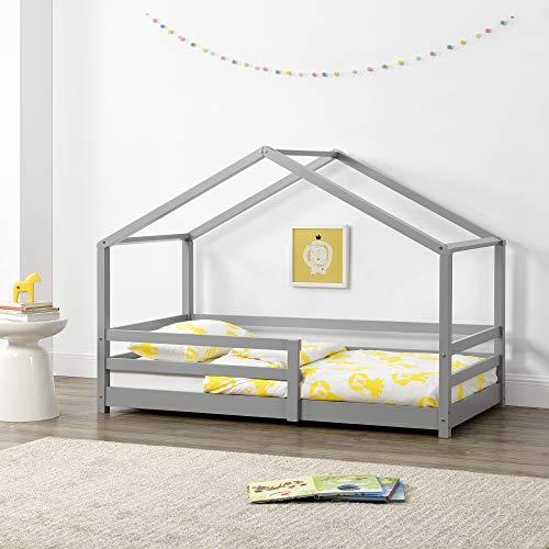 Kinderbett mit Rausfallschutz 90x200 cm Bettenhaus Hausbett Hellgrau