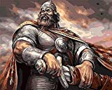 HAO DIY Knight Man The Painting by Numbers Hand Paint Coloring by Number Drawing Model Pictures Home Decoración de la Pared 40x50cm Sin Marco