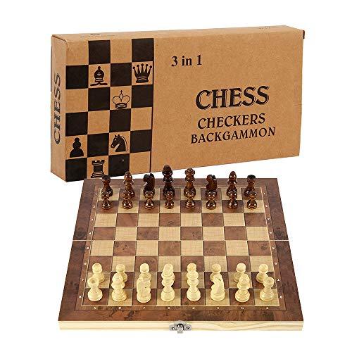 78Henstridge Schachspiel Schach Schachbrett Holz,Schach klappbar Schachbrett,Wooden Chess Set für Familie Geschenk Reisen Kinder und Erwachsene (24X24cm)