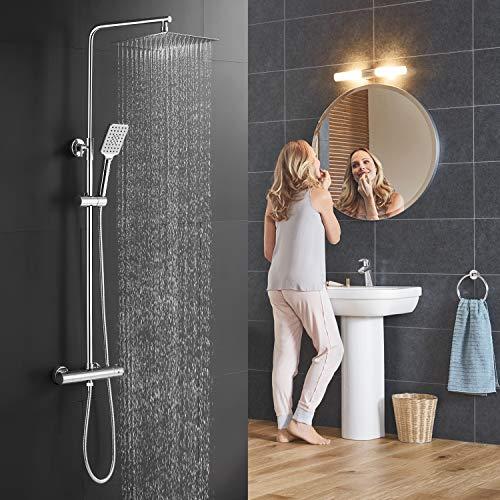BONADE Duschsystem mit Thermostat Regendusche Chrom Duscharmatur Edelstahl Duschgarnitur inkl. 10 Zoll Kopfbrause Eckig Handbrause Rund Verstellbare Duschstange Brauseschlauch für Bad Dusche