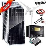 Kit de energía solar de 1000 W, 12 V, sistema de red eléctrica: 6 paneles solares monocristalinos de 100 W + generador de turbina de viento de 400 W + controlador de carga solar+cable + conector Y