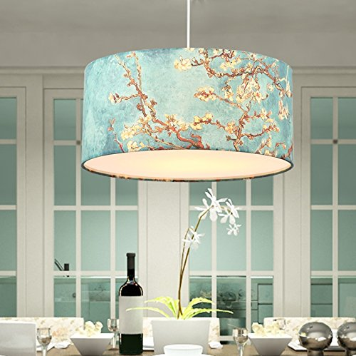 Cloth Round Single Head Simple Blue Chandelier