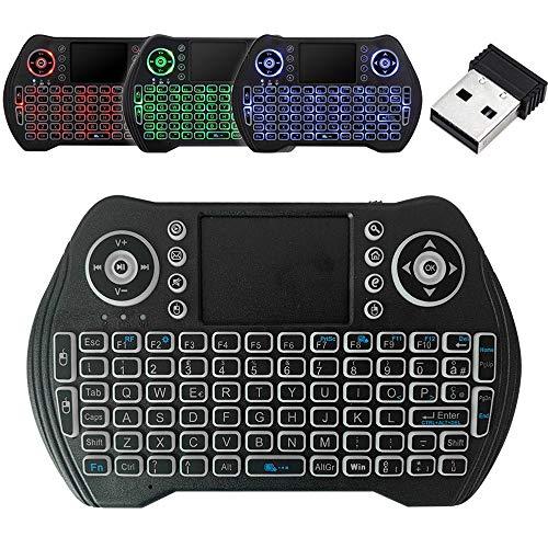 Mini Teclado Inalambrico 2.4G con Ratón y Función Táctil Teclado Retroiluminado de 3 Colores Disponibile per Smart TV Android TV Box
