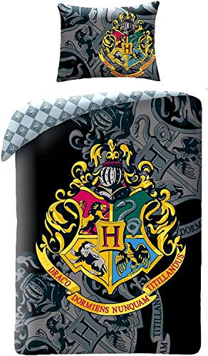 Finoo Harry Potter Hogwarts Wappen Bettwäsche 140x200cm+70x90cm Schwarz/Weiß
