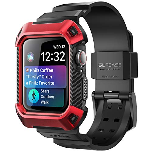 SUPCASE [Unicorn Beetle Pro] Designed for Apple Watch Series 6/SE/5/4 [44mm], Rugged Protective Case with Strap Bands(Red)