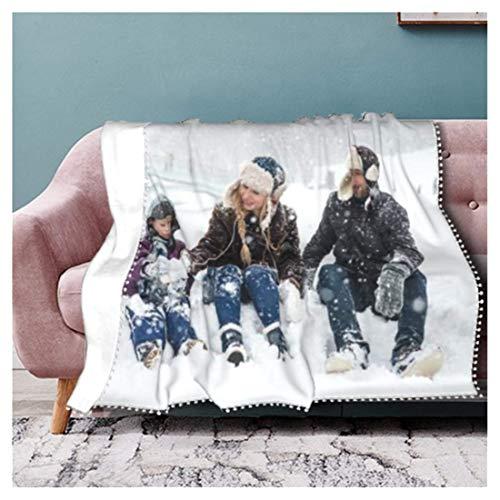 Fotodecke mit Eigenem Foto Super Weich,Decke Selbst Gestalten Bedrucken Lassen Kuscheldecke Personalisierte Geschenk für Freunde Familie Geburtstag Weihnachten