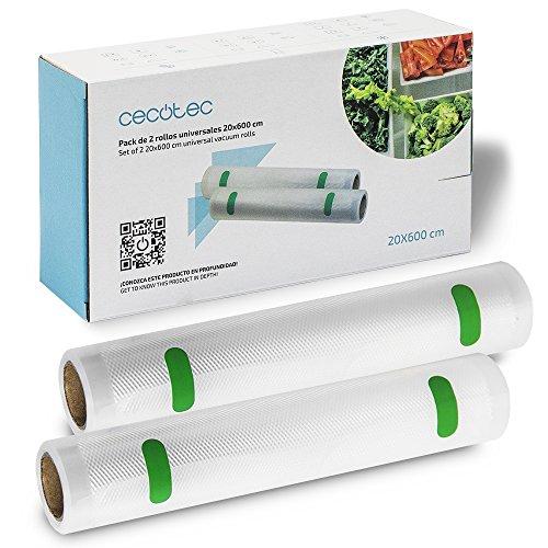 Cecotec Rollos Gofrados Set de 2 Rollos Medianos 20 x 600 cm. Superficie gofrada, Permite hacer bolsas de tamaño personalizado, Óptima conservación de los alimentos, BPA Free