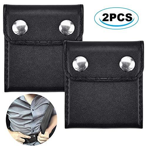2 Piezas Posicionador de Clip de Cinturón, Ajustador del Cinturón de Seguridad, Ajustador de Cuero para Cinturón de Seguridad, para el Hombro, Correa, Cinturón de Seguridad(Negro)