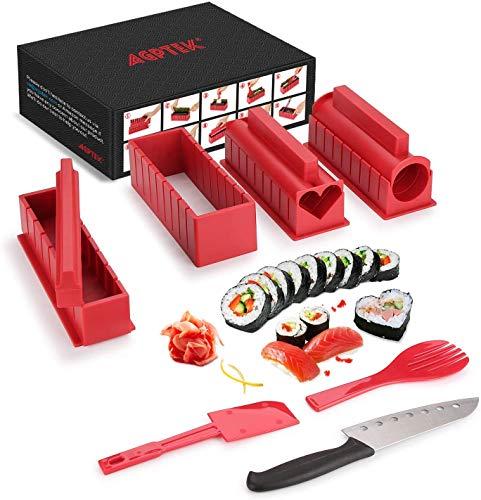 AGPTEK Juego de Moldes y Herramientas de 10 Piezas para Hacer Sushi DIY, Color Rojo