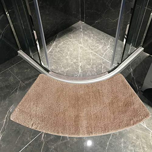 Alfombra de baño Curvada Quadrant, Alfombrilla de Ducha semicircular, alfombras de baño Antideslizantes de 17.7 x 39.4 Pulgadas, Almohadillas para pies en Forma de Abanico,Beige