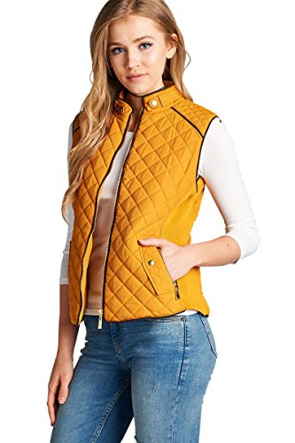 Active USA Quilted Padding Vest With Suede Piping Details Sizes From S-3XL (Dark Mustard-Small)