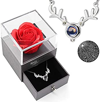 Best Mom Ever Preserved Rose Drawer with I Love You Necklace