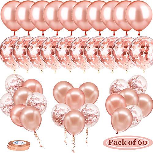 60 Set Di Palloncini Oro Rosa, Contiene 30 Palloncini In Oro Rosa e 30 Palloncini Coriandoli, 2 Rotoli Di Nastro Utilizzati Per Il Matrimonio, Palloncini Compleanno, Laurea, Festa Decorazione