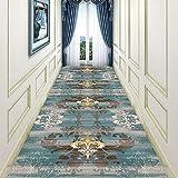 LSM Tappeti Corridore Tradizionale per Corridoi, Moquette Blu Oro con Supporto in Gomma Antiscivolo, Tappetino per Ingresso Interno/Esterno/Ingresso 60/80/100 cm (Size : 80×550cm)