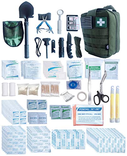 WildmanSurvival 313 pcs. Survival First Aid Kit Outdoor, Home, Office Emergency First Aid Tri-fold Molle Bag for Camping Hiking Boat Car and Adventures (Green)