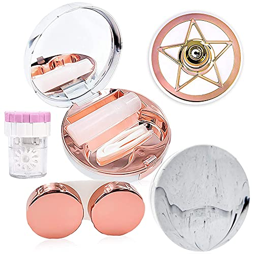 2 Stück Kontaktlinsenbehälter, BKJJ Tauchlinsenbehälter, Tragbarer Kunststoff-Marmormuster-Augenpflegesetbehälter, 1 Stück Reinigungsbox für Kontaktlinsenbehälter Packung mit Kontaktlinsenbehältern