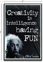 Creativity Is Intelligence Having Fun Albert Einstein Motivational Inspirational Funny Magnet - Refrigerator Toolbox Locker Car Ammo Can