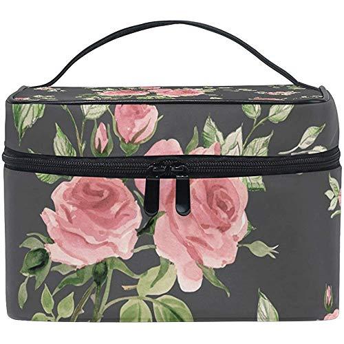 Aquarelle Rouge Rose et Feuilles Femmes Voyage Cosmétique Sac Portable Maquillage Train Cas Trousse de Toilette Beauté Organisateur