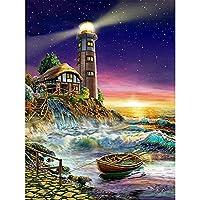 DIY5Dダイヤモンド絵画クロスステッチ海の風景灯台フルラウンドダイヤモンド刺繡風景キットモザイク家の装飾