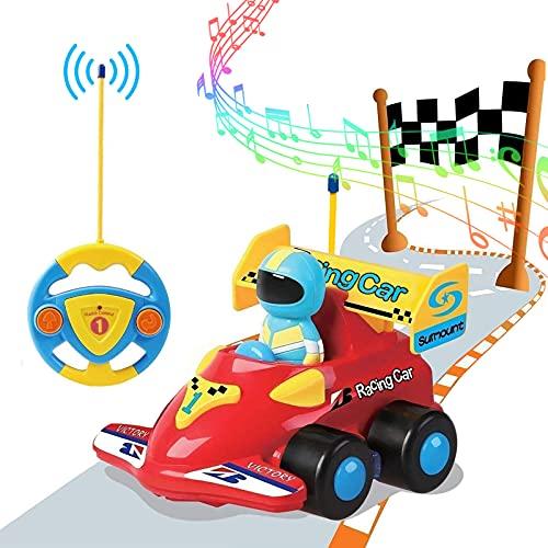 PowerLead Coche Teledirigido para Niños, Coche a Control Remoto con Dibujos Animados de Música, Coches de Control Remoto para Niños Pequeños y Coches de Juguete para Niños de 3 a 8 Años