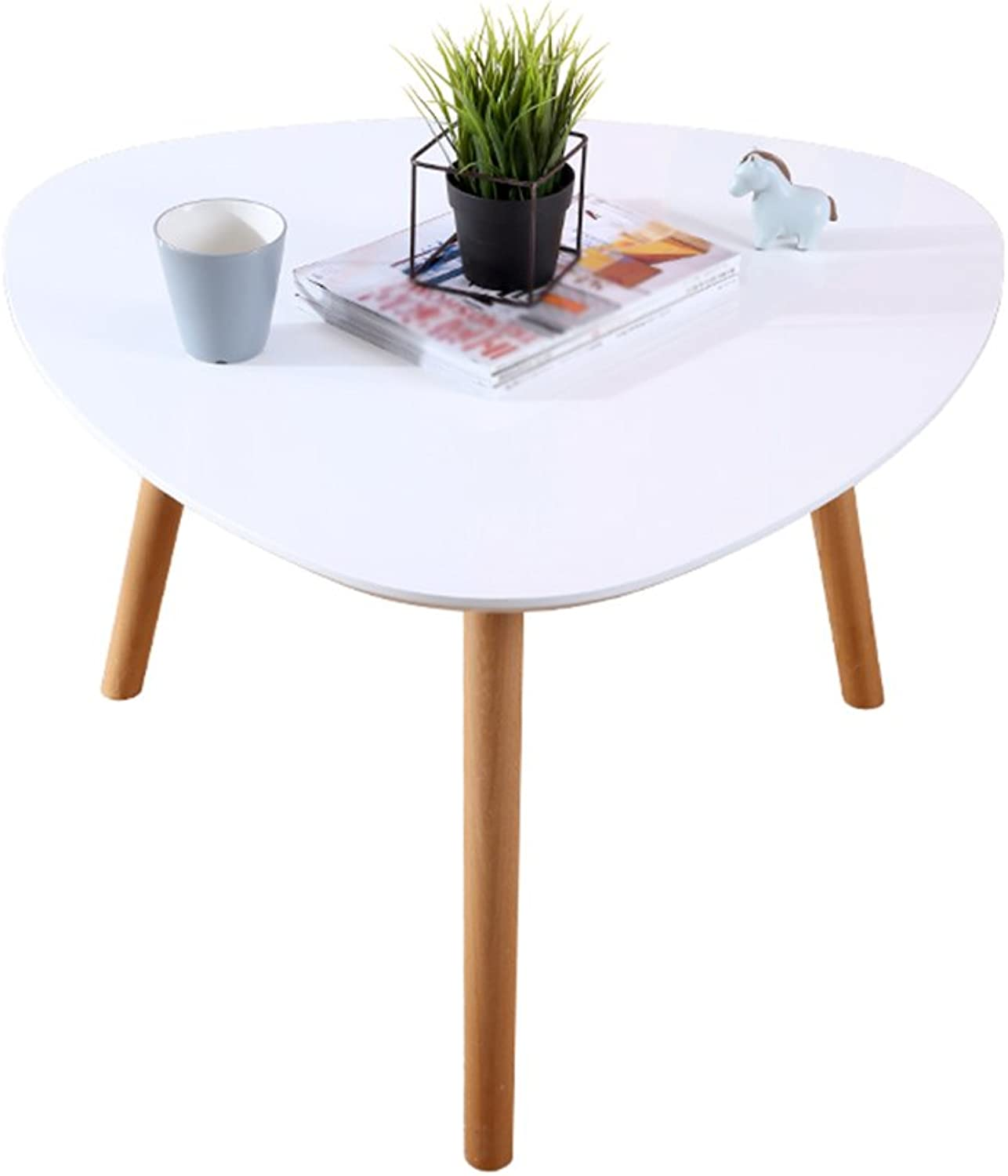 Chang-dq Solid Wood Coffee Table Creative White Modern Minimalist Style Triangle Tea Table Sofa Side Table Furniture Living Room Balcony Triangular Leg  50-70 cm Durable (Size   A)