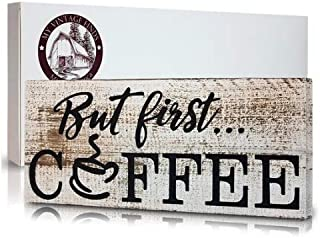 myVintageFinds But First Coffee, Farmhouse Kitchen Signs, Coffee Bar Sign