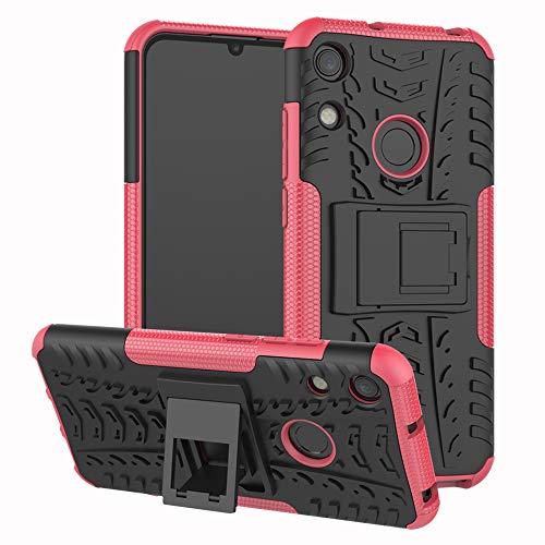 LFDZ Huawei Honor 8A Funda, Soporte Cáscara de Doble Capa de Cubierta Protectora Heavy Duty Silicona híbrida Caso Funda para Huawei Honor 8A / Huawei Y6 2019 Smartphone,Rosa
