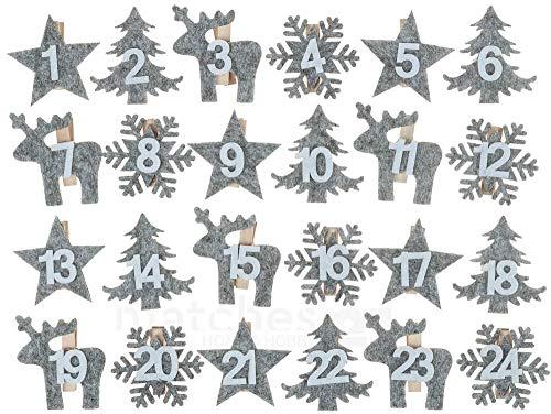 matches21 Adventskalender Wäscheklammern Filz Motive gestanzt Elch Stern Baum & Schneeflocke mit Zahlen 1-24