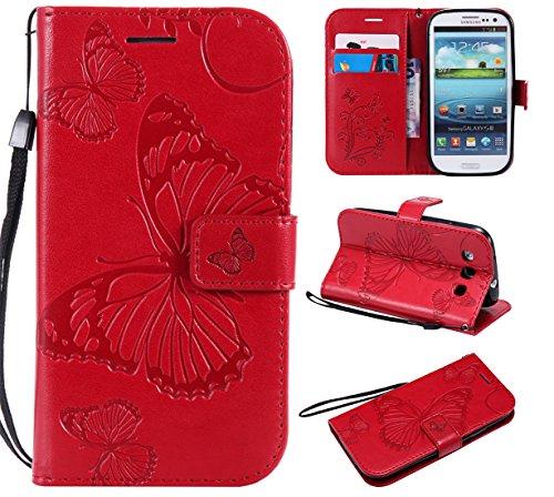 Luckyandery - Funda tipo cartera para Samsung Galaxy S3 9300 (piel sintética, a prueba de golpes, función atril, ranura para tarjeta de crédito/tarjeta de identificación), color rojo