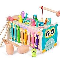 🔴【5 in 1 gioco divertente multifunzionale】Il giocattolo martellante del criceto può esercitare la capacità di coorinenza mano-occhio dei bambini; Il giocattolo ha uno xilofono a 8 note e potrebbe emettere vari toni, quindi lo xilofono stimolerà lo sv...