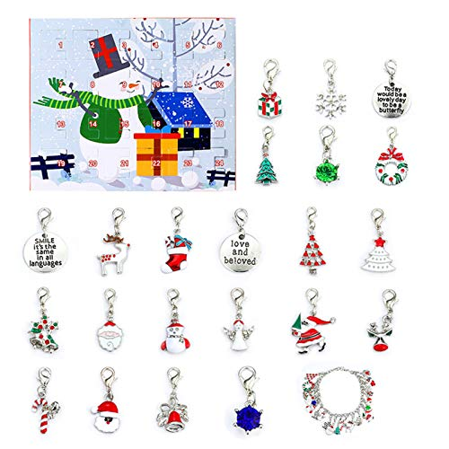 Jewelry Set For Women, 2020 Xmas Countdown Calendar Bracelet Santa Elk Sock Pendant Making Kit