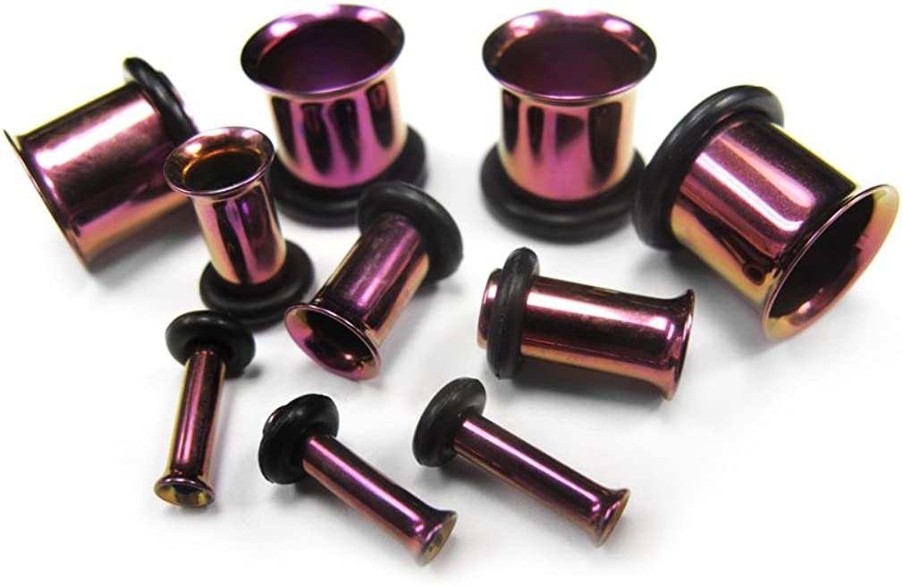 Urban Body Jewelry Pair of 4 Gauge (4G - 5mm) Purple Stainless Steel Tunnel Plugs - Single Flare