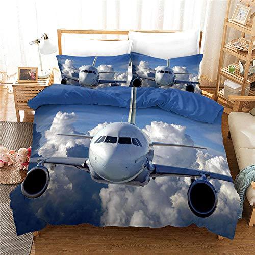 HGFHGD Baiyun Flugzeug-Bettbezug mit 3D-Druck, für Kinder und Erwachsene, King-Size-Bett, kleiner Bettbezug für Jugendliche, Einzel- und Doppelbetten