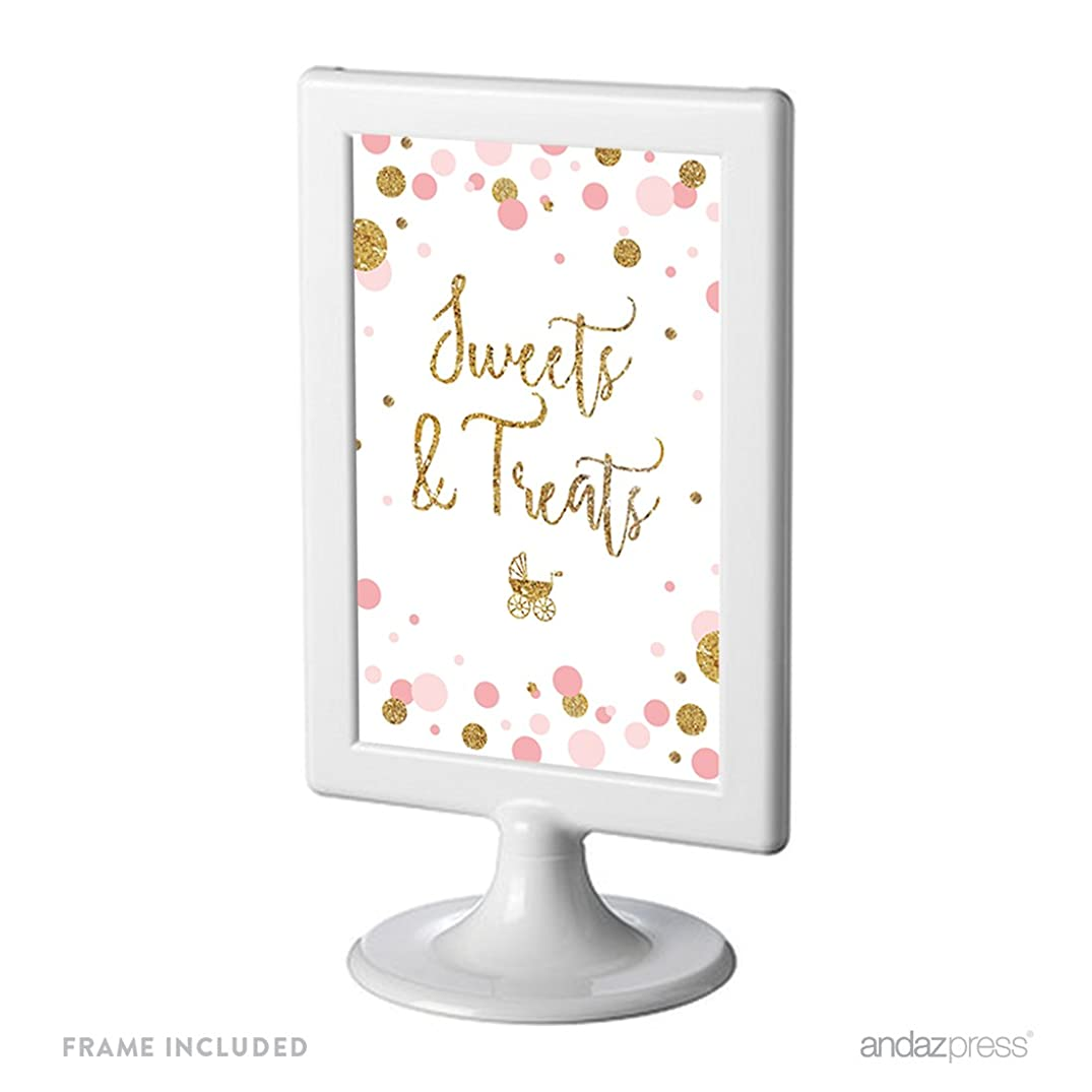 Andaz Press Blush Pink Gold Glitter Girl Baby Shower Party Collection, Framed Party Sign, Sweets & Treats Table Signage, 4x6-inch, 1-Pack, Includes Frame