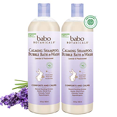 Babo Botanicals Calming 3-in-1 Shampoo, Bubble Bath & Wash with French Lavender and Organic Meadowsweet, Hypoallergenic, Vegan, For Babies and Kids - 2-Pack 15 oz.