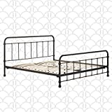 Elle Decor Renaud Parisian Platform Metal Bed, Vintage Industrial Design Accents on Headboard and Footboard, King, Black and Brass