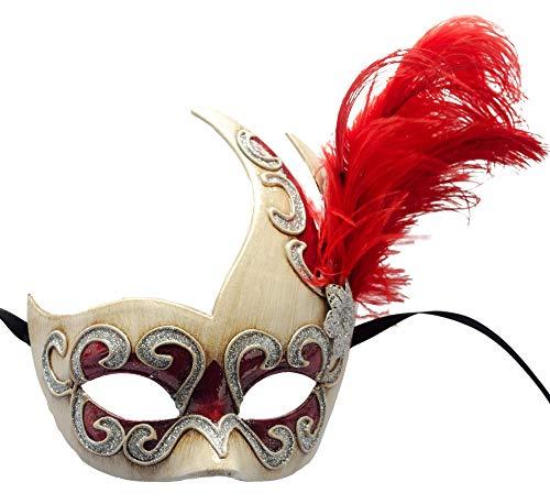 Lannakind Handgefertigte Venezianische Maske Augenmaske Colombina Ballmaske Karneval Damen und Herren (Col8)