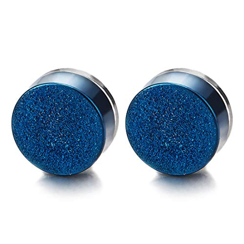 8MM Magnetico Blu Satinato Cerchio Orecchini da Uomo Donna, Click-on Fake Piercing, Finto Dilatatore Fake Plug, Acciaio