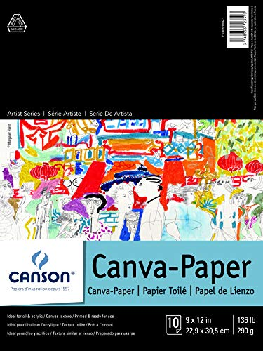 Canson Artist Foundation Series Canva-Paper Pad Primed for Oil or Acrylic Paints, Top Bound, 136 Pound, 9 x 12 Inch, 10 Sheets, 9' x 12', 0