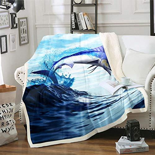 richhome Dunkelblauer Ozean Decke 150x200cm Springender Schwertfisch Wohndecke für Kinder Jungen Mädchen Cool Fish Mysterious Sealife