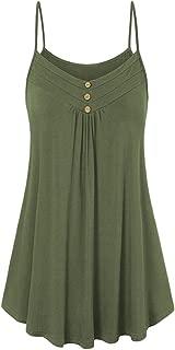 UONQD Woman Women Summer Loose Button V Neck Cami Tank Tops Vest Blouse