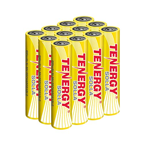 Tenergy Solla AAA Rechargeable NiMH Battery, 600mAh Solar Batteries for Outdoor Solar Lights, Outdoor Patio Lights, Anti-Leak, Outdoor Durability, 5+ Years Performance, 12 PCS, UL Certified