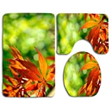 Antideslizante 3 piezas hojas de otoño de color naranja suave contra un fondo verde alfombras de baño set alfombra de baño lavable + alfombra de contorno + funda de asiento de inodoro, Alfombra de pis