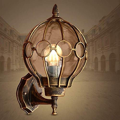 CNCDRS Europeo retro victoria lámpara de pared con forma de bola patio al aire libre impermeable linterna vidrio cromo acabado externo pared luz pórtico patio patio montado en la pared accesorio E27 E