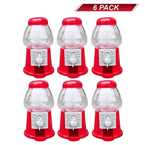 "Hammont Premium Pack of 6 Mini 5"" Plastic Gumball Machines–Small Set of Red Bubble Gum Dispenser for Boys & Girls –Novelty Fun Birthday Party Favor Idea Fits .5"" Inch Small Gumballs (14mm)"