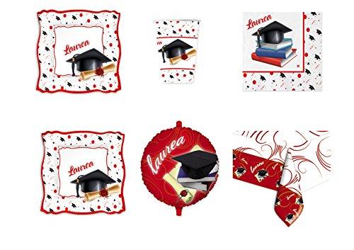 Casa dolce casa Laurea Coordinato ADDOBBO TAVOLA Festa Evento Kit n°16 CDC- (16 Piatti, 16 Bicchieri, 20 tovaglioli,1 Tovaglia, 1 Pallone Foil)
